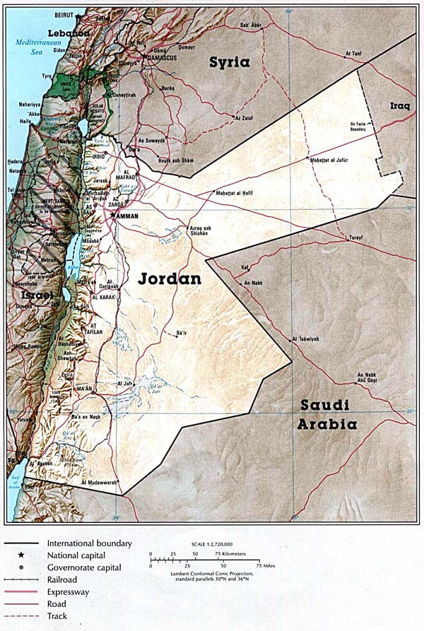 Detailed map of Jordan country. Jordan country detailed map.