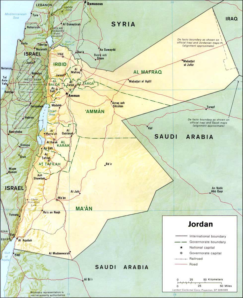 Political Map Of Jordan.Detailed Relief And Political Map Of Jordan Jordan Detailed Relief