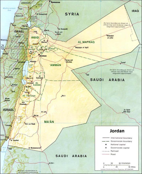 Detailed relief and political map of Jordan.