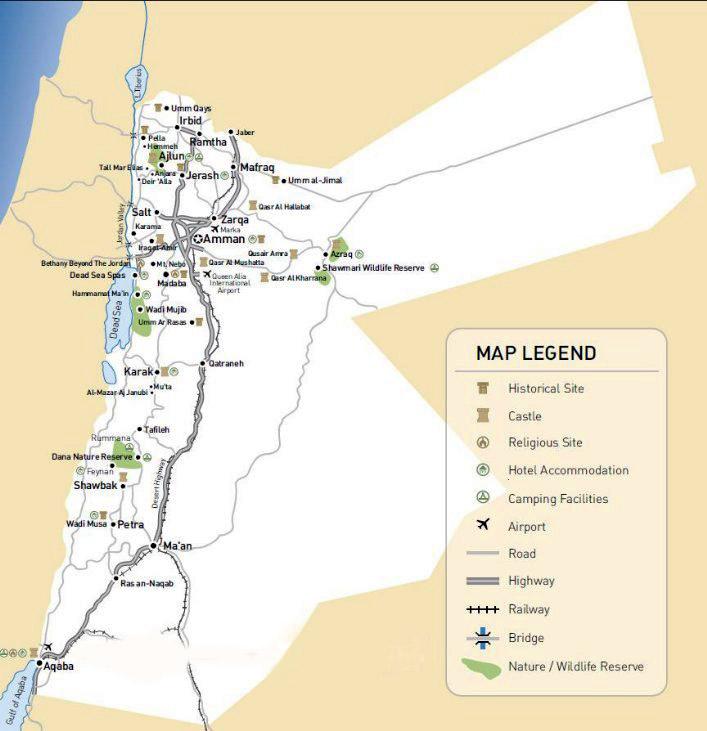 Detailed Road Map Of Jordan Jordan Detailed Road Map Vidiani - Map of jordan