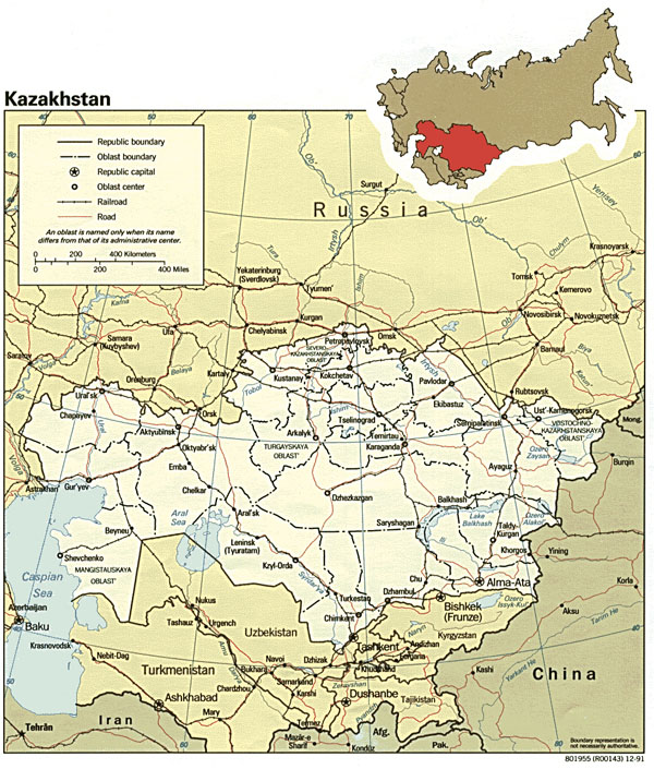 Administrative and road map of Kazakhstan.