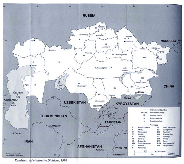Detailed administrative map of Kazakhstan. Kazakhstan detailed administrative map.