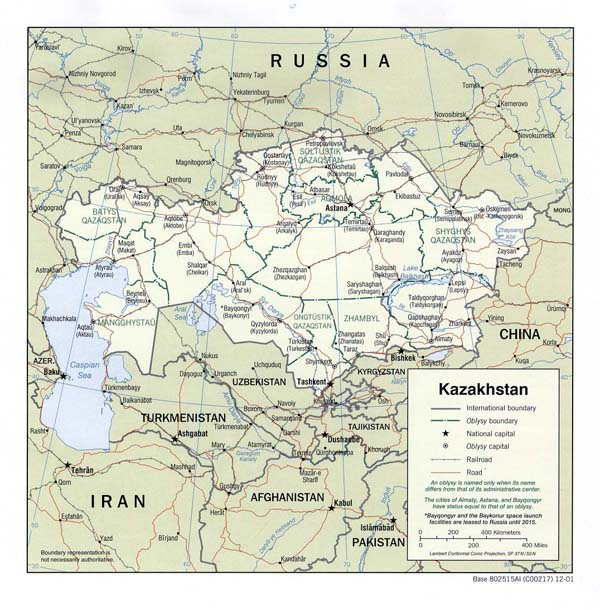 Detailed political and administrative map of Kazakhstan.