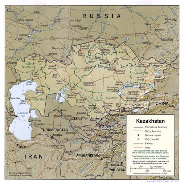 Detailed relief and administrative map of Kazakhstan.