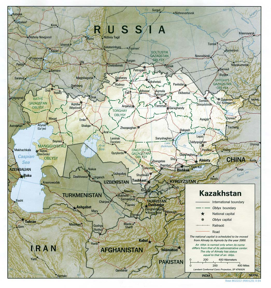 Kazakhstan Political Map.Detailed Road And Political Map Of Kazakhstan Kazakhstan Detailed