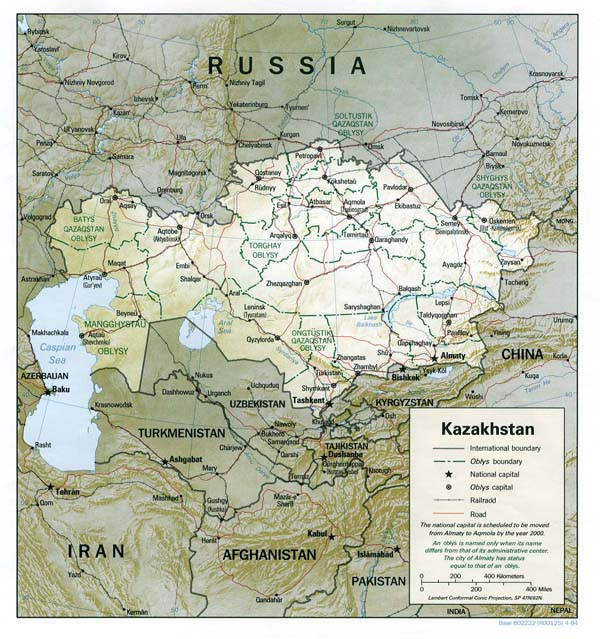 Detailed road and political map of Kazakhstan.