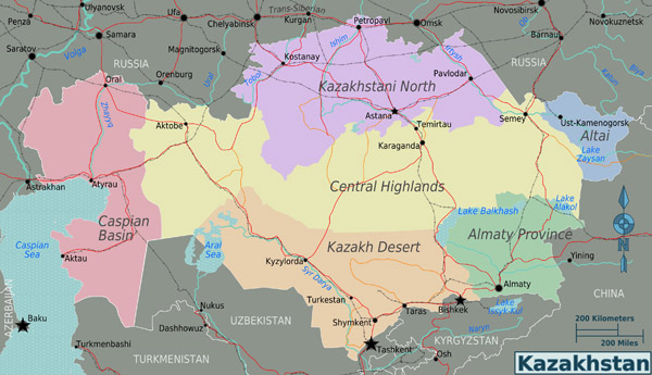 Large detailed road and administrative map of Kazakhstan regions.