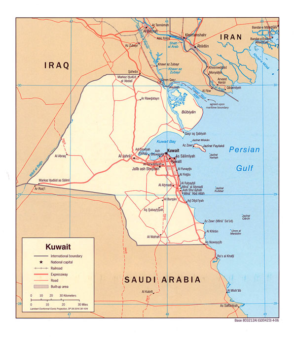 Detailed political map of Kuwait. Kuwait detailed political map.