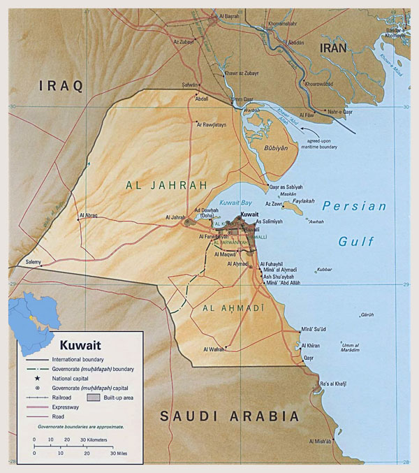 Detailed political map of Kuwait with relief.