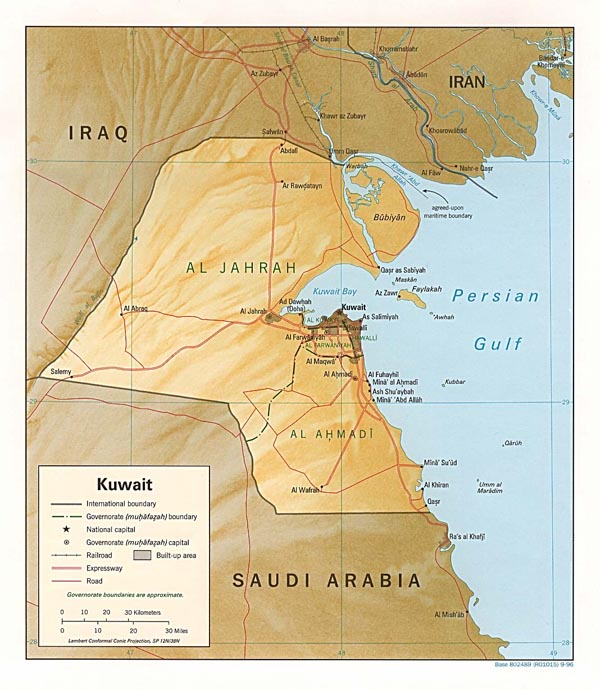 Detailed relief and political map of Kuwait.