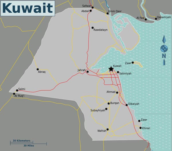 Detailed road map of Kuwait. Kuwait detailed road map.
