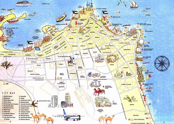 Detailed tourist map of Al Kuwait. Al Kuwait detailed tourist map.