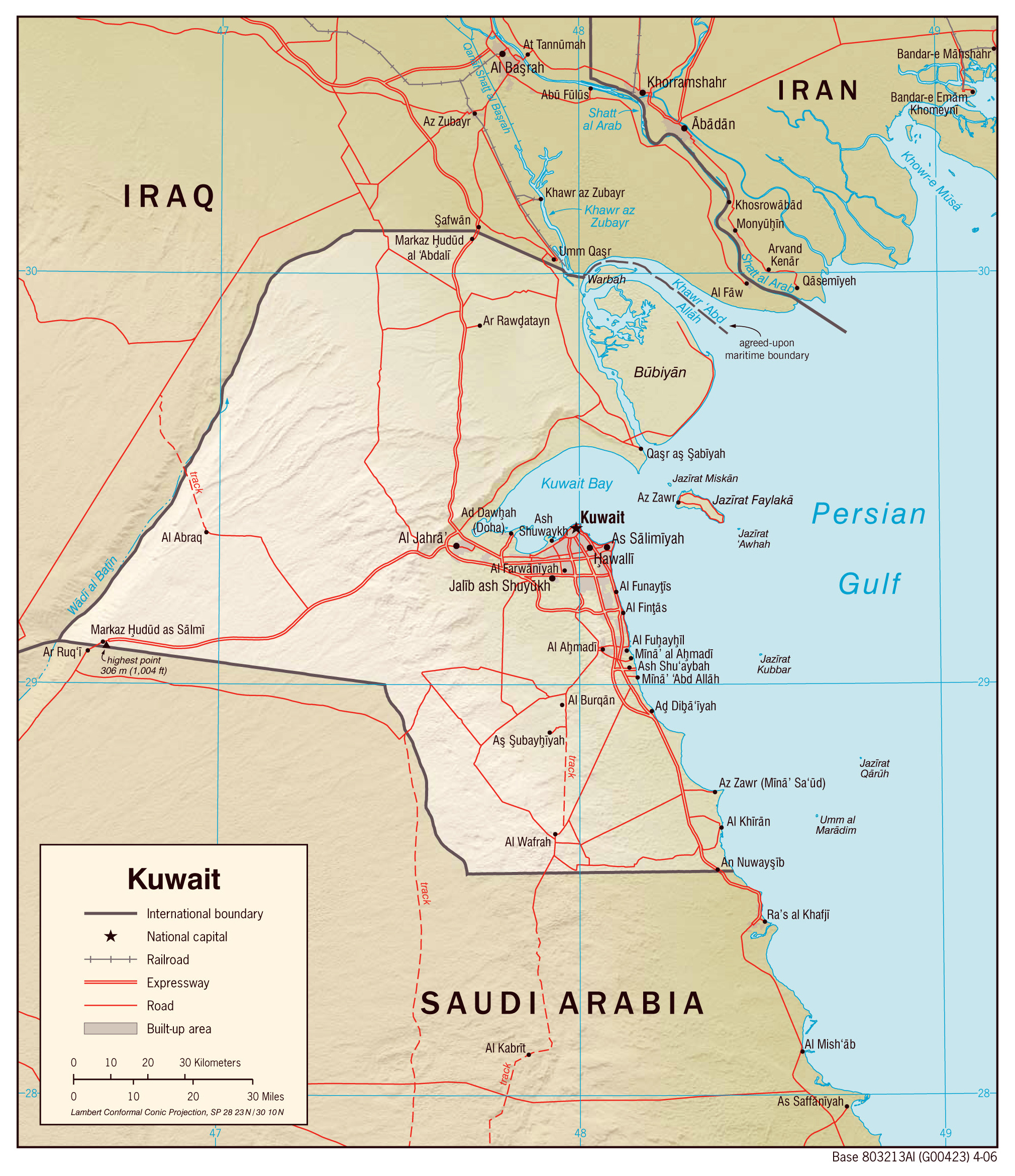 Kuwait Political Map.Large Detailed Political Map Of Kuwait With Relief Roads And Cities
