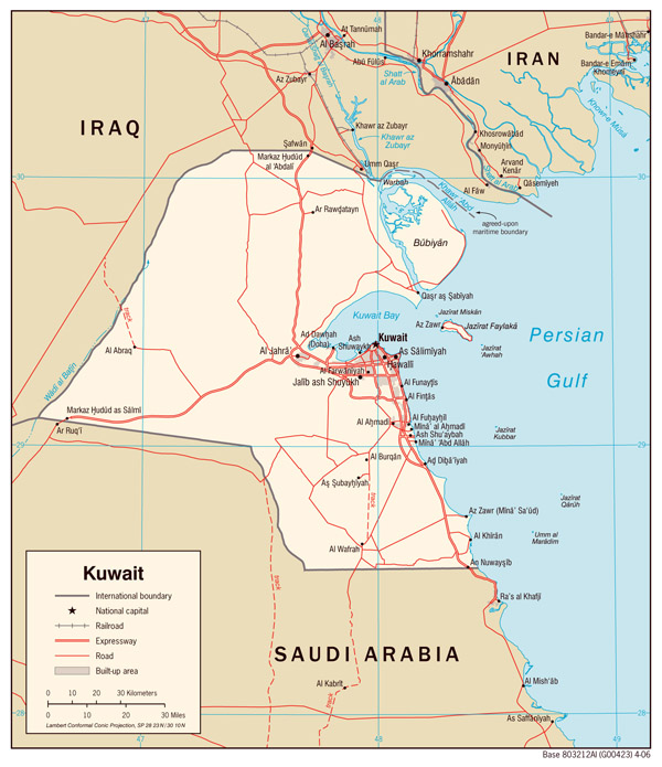 Large detailed political map of Kuwait with roads and cities.