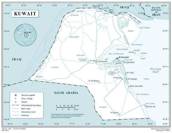 Large political map of Kuwait with roads, airports and cities.