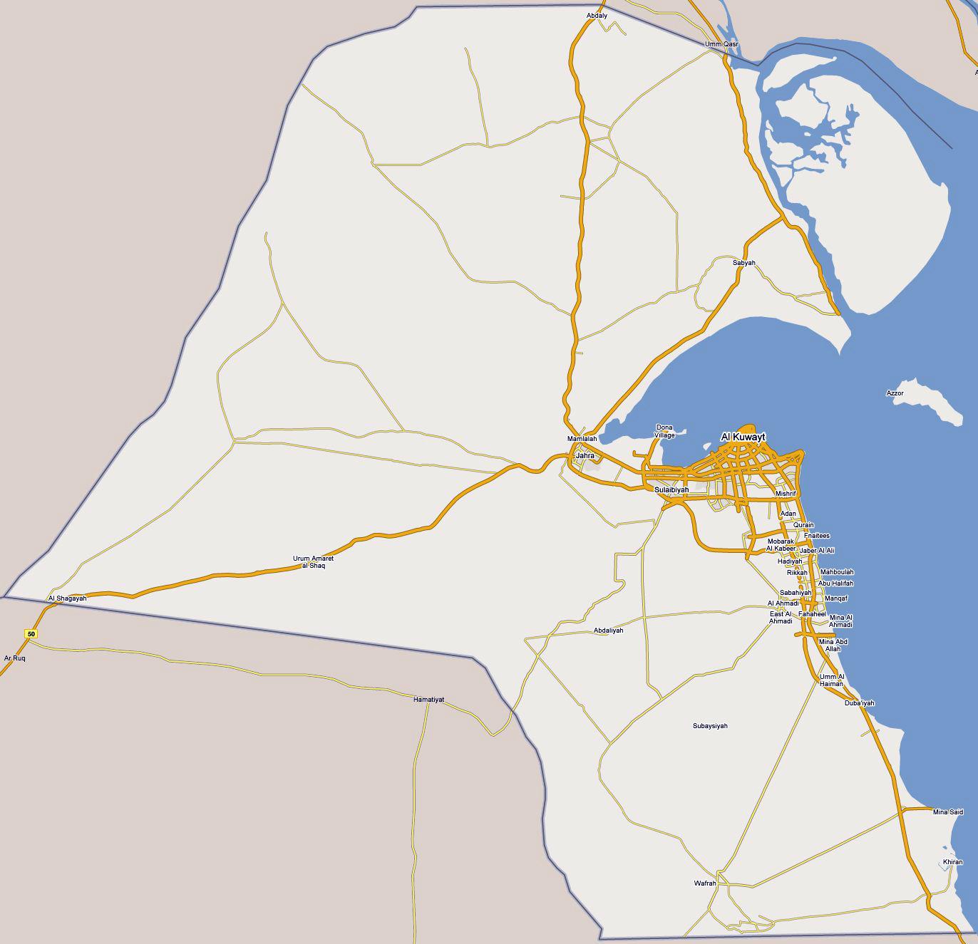 Large road map of Kuwait Kuwait large road map Vidianicom Maps
