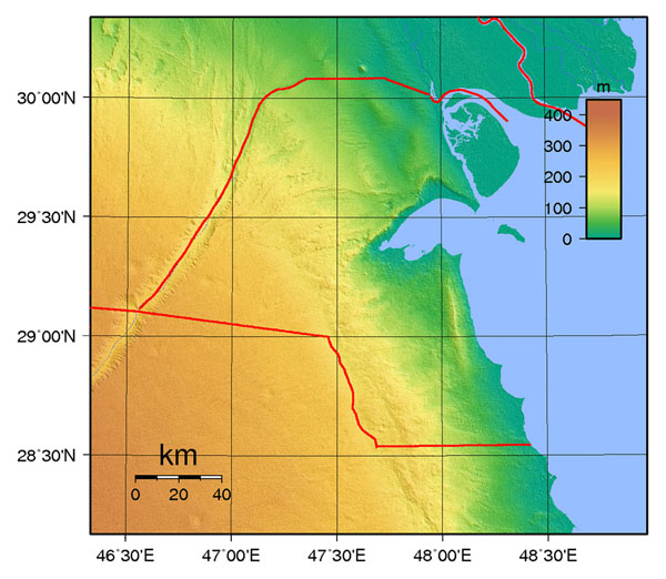 Large topographical map of Kuwait. Kuwait large topographical map.