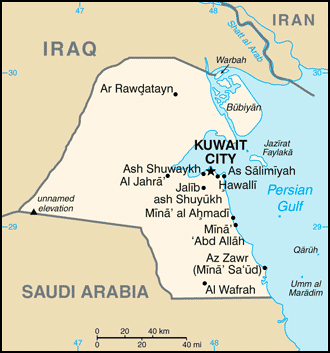 Small map of Kuwait. Kuwait small map.
