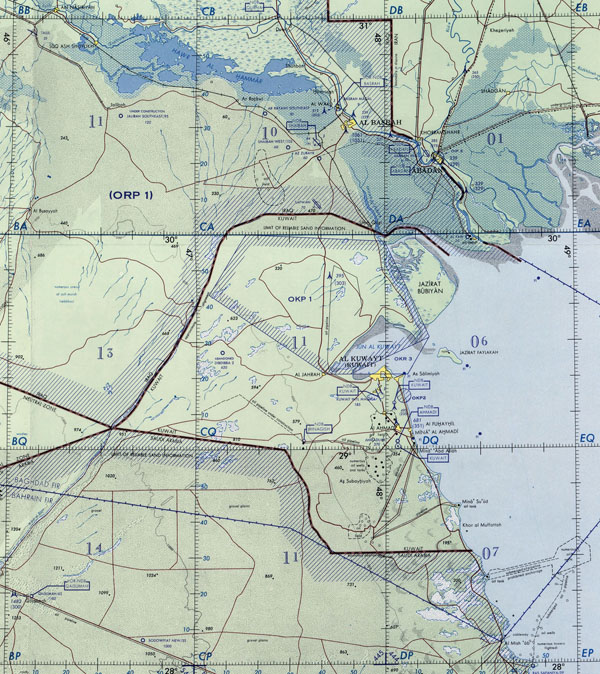 Topographical map of Kuwait. Kuwait topographical map.