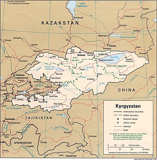 Detailed political and administrative map of Kyrgyzstan.