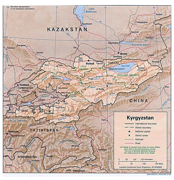 Detailed relief and administrative map of Kyrgyzstan.