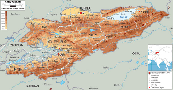 Large detailed physical map of Kyrgyzstan.
