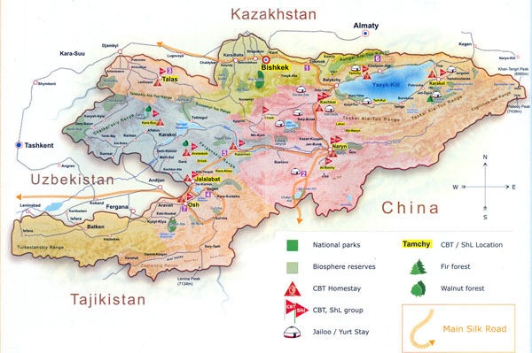 Large detailed tourist map of Kyrgyzstan.