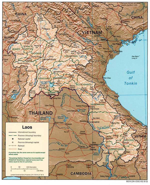 Detailed relief and political map of Laos.