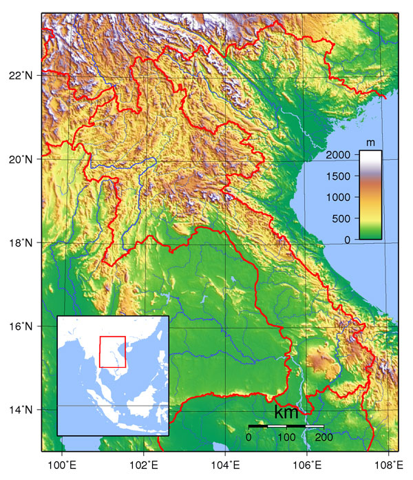 Detailed topographical map of Laos. Laos detailed topographical map.