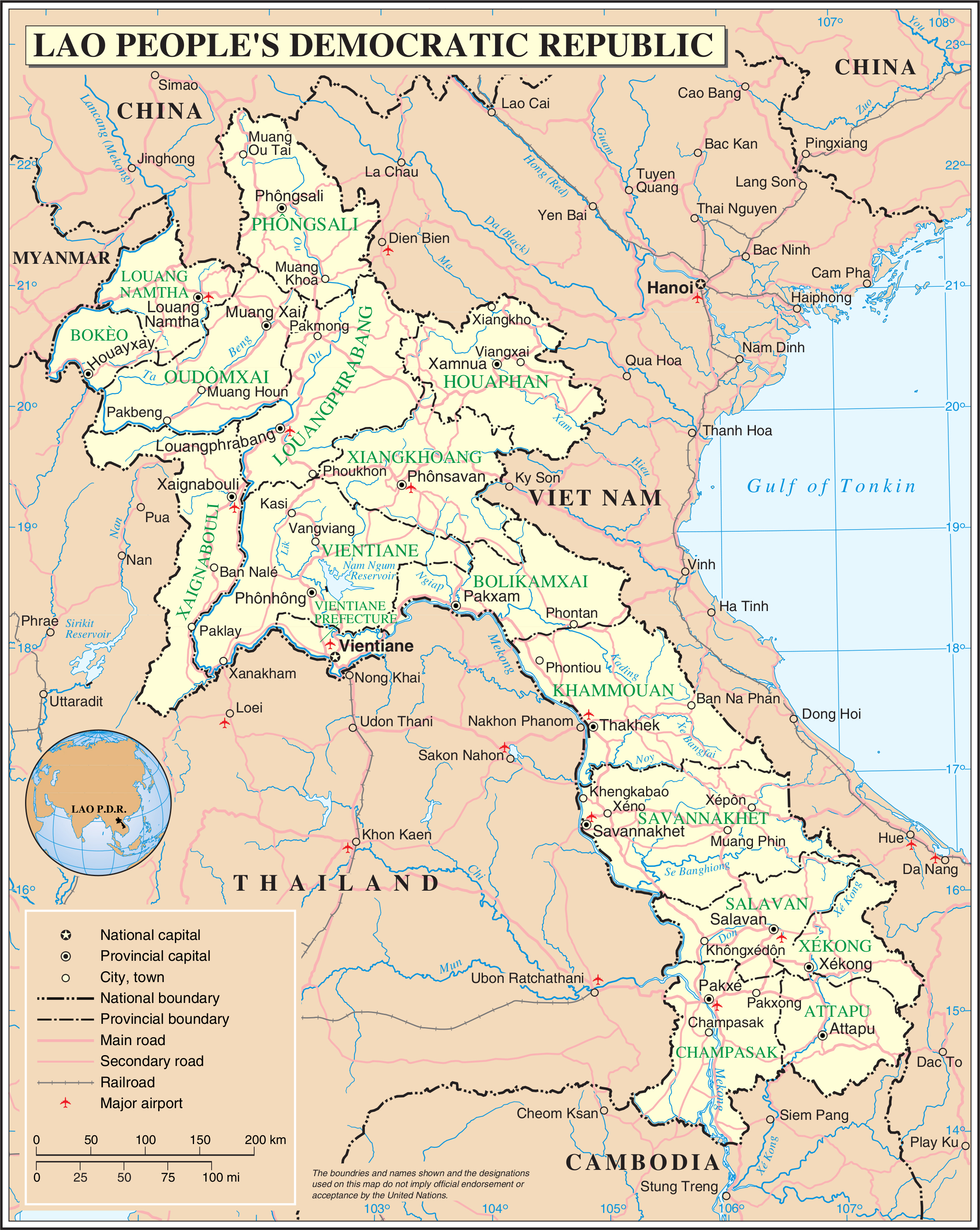 Large detailed road and administrative map of Laos. Laos large ...
