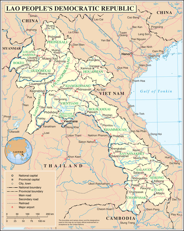 Large detailed road and administrative map of Laos.