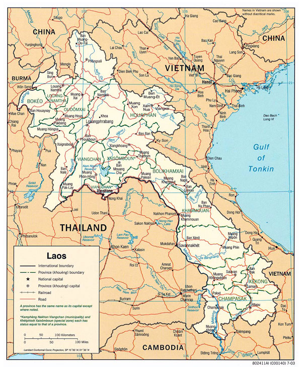 Large political and administrative map of Laos.