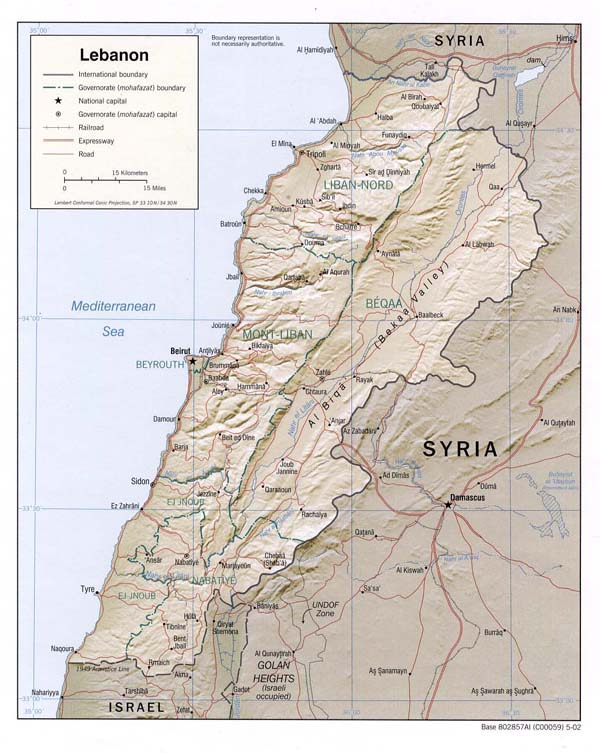 Detailed relief and political map of Lebanon.