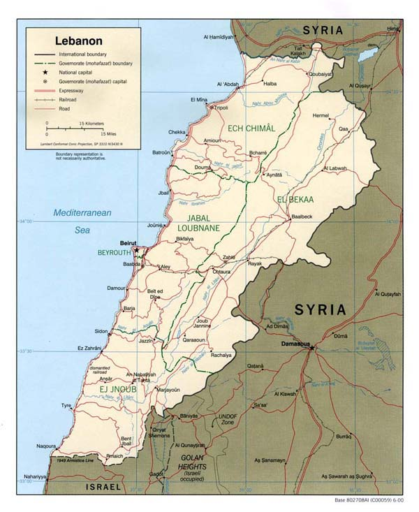Detailed road and political map of Lebanon.
