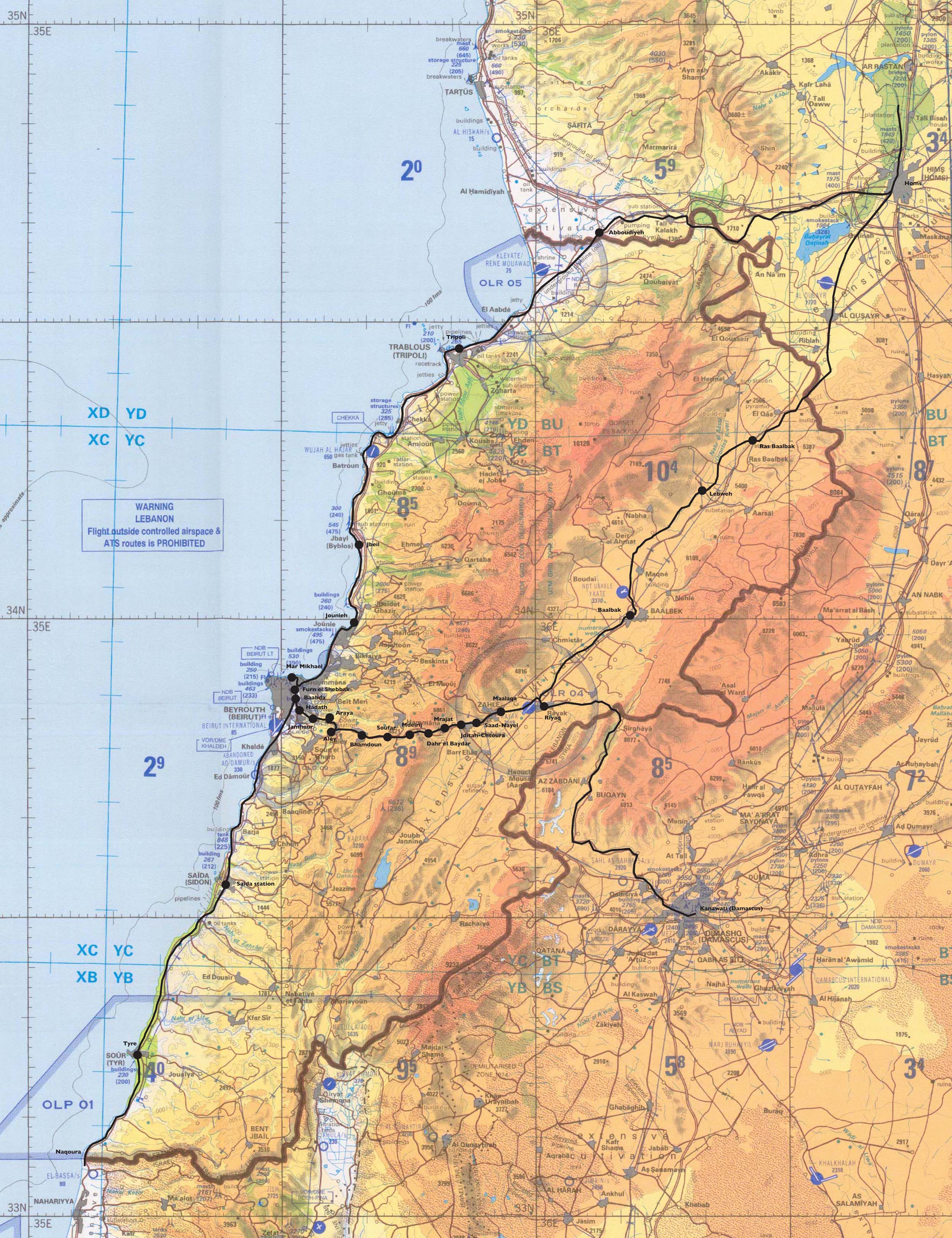 Detailed topographical map of Lebanon Lebanon detailed