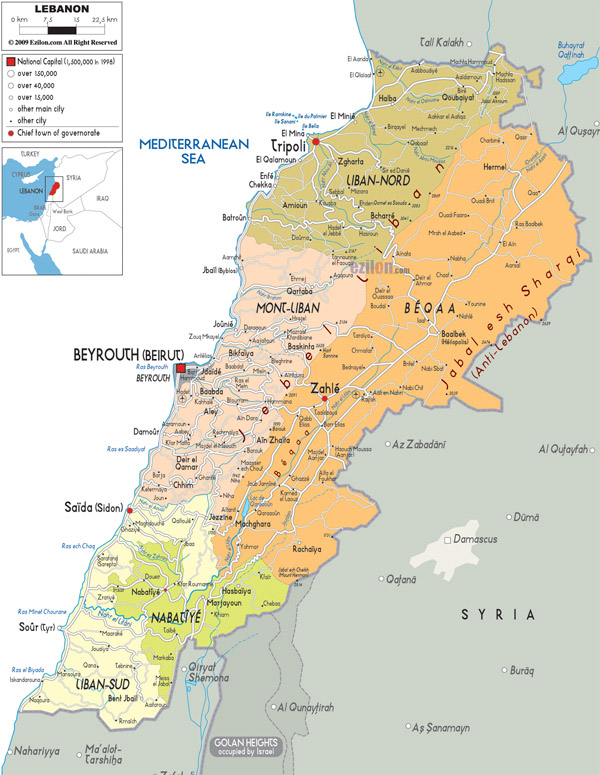 Large detailed administrative map of Lebanon.
