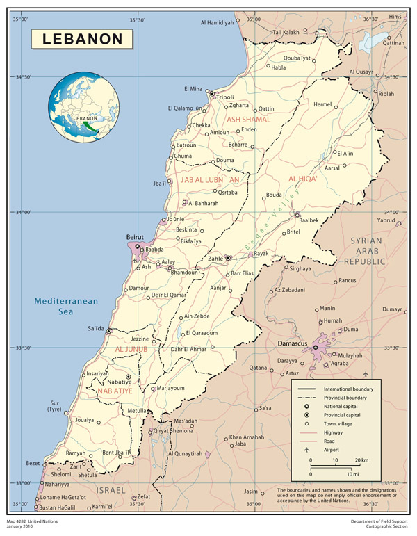 Large detailed map of Lebanon. Lebanon large detailed map.