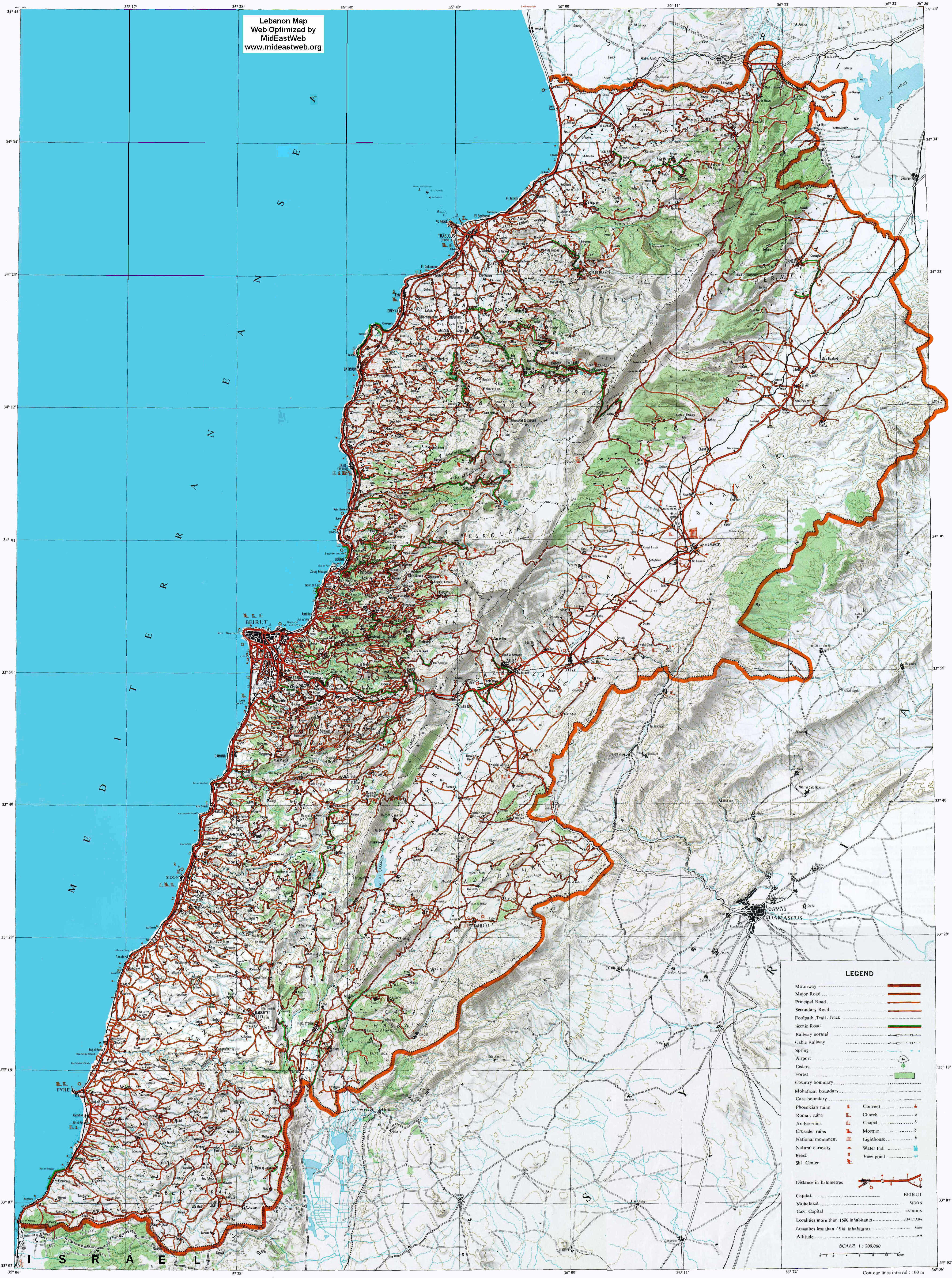 Large detailed road and topographical map of Lebanon Lebanon large