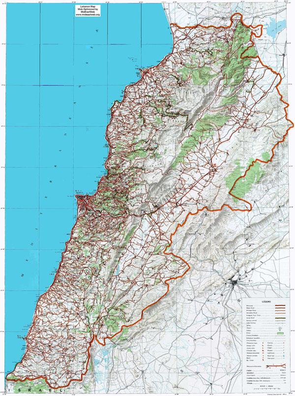 Large detailed road and topographical map of Lebanon.