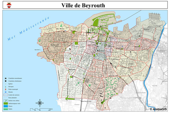 Large detailed road map of Beirut (Beyrouth) city.