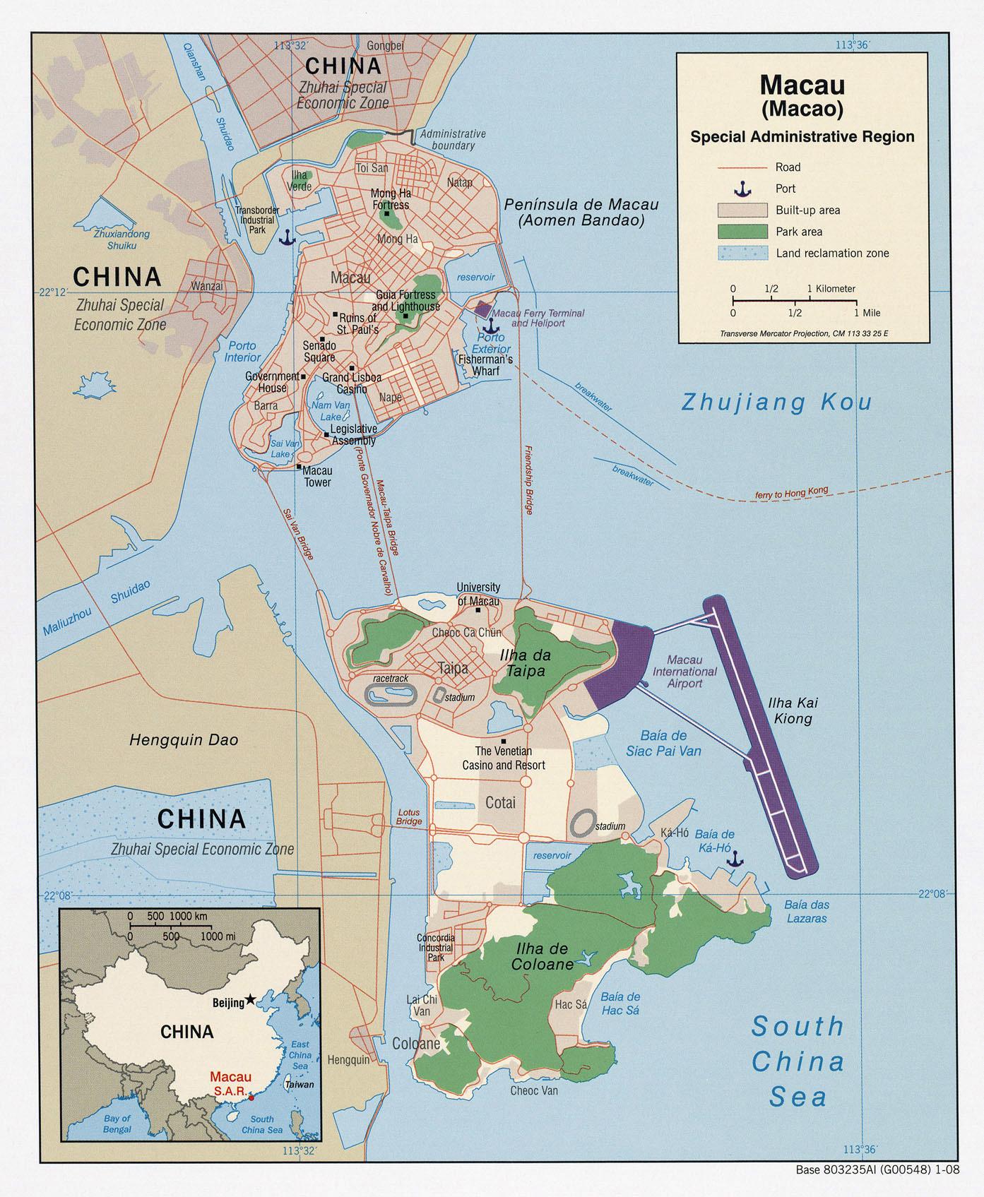Full political map of Macau Macau full political map – Full Asia Map