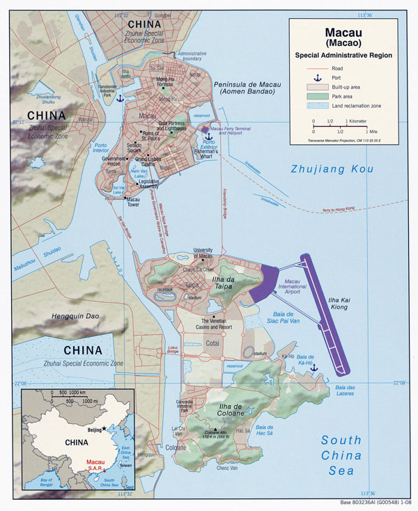 Full political map of Macau with relief.