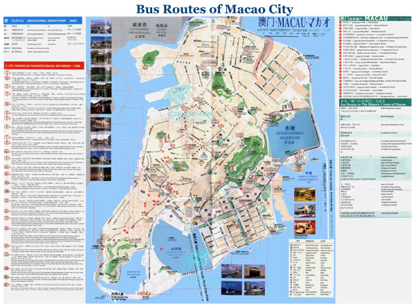 Large detailed bus routes map of Macao city.