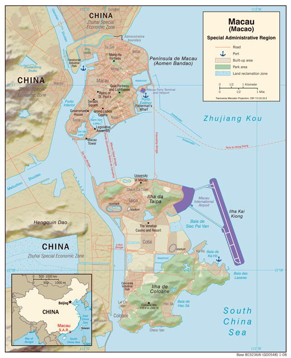Large detailed political map of Macao with relief, roads and sea ports.