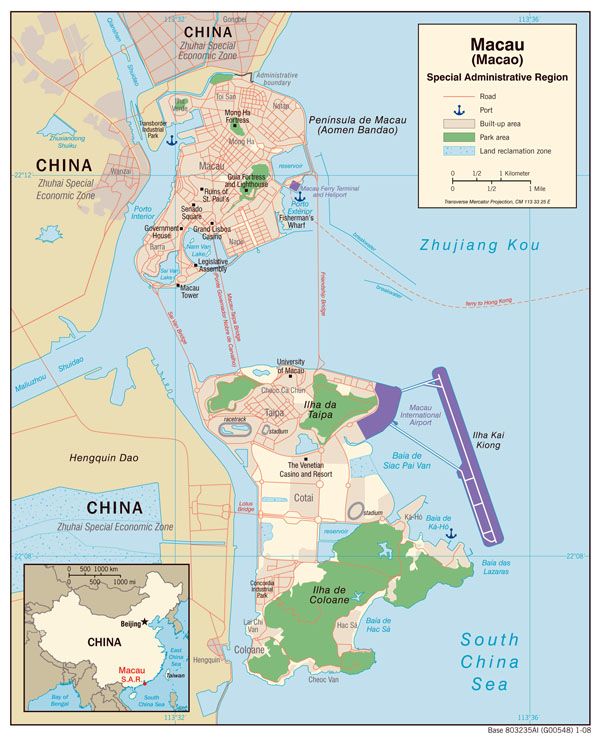 Large detailed political map of Macao with roads and sea ports.