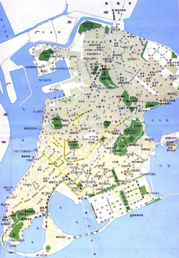 Large detailed road map of Macau in Chinese.