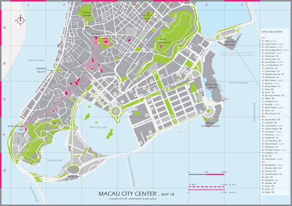 Large detailed road map of Macau city center.