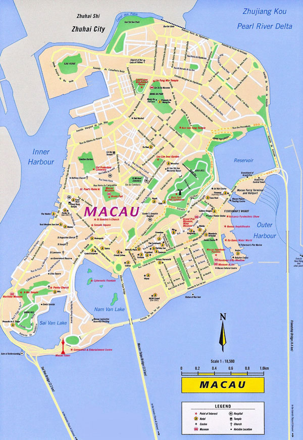 Large detailed tourist and road map of Macau.