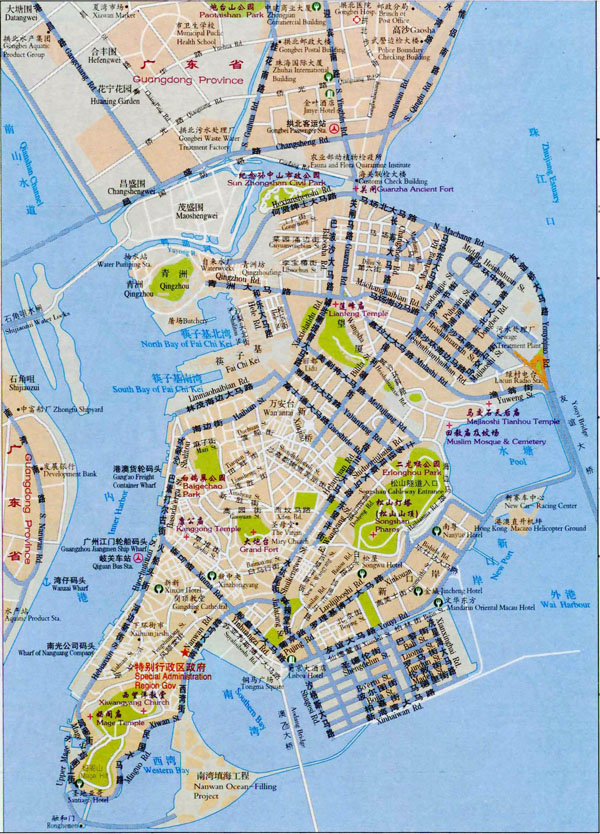 Large road map of Macau in Chinese. Macau large road map in Chinese.