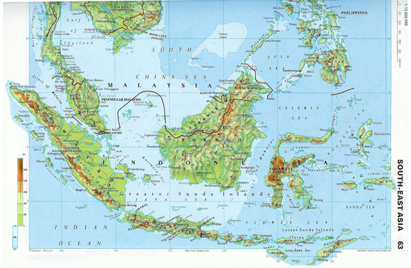 Large detailed topographical map of Malaysia.
